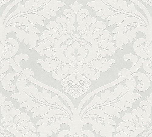 Livingwalls Vliestapete Flock Tapete klassisch neobarock 10,05 m x 0,53 m metallic weiß Made in Germany 554338 5543-38