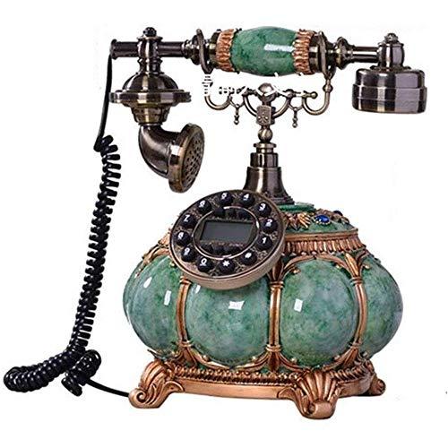YANGYUAN Teléfono antiguo retro de escritorio antiguo teléfono fijo fijo europeo antiguo soporte manos – llamada libre, para decoración de oficina en el hogar, con pantalla