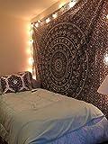 Tapisserie Mehrfarbig Geschenk Hippie Wandteppiche Mandala Bohemian Psychedelic komplizierte indische Wandbehang Bettwäsche Tagesdecke (Black and White, 210 x 140 cms)