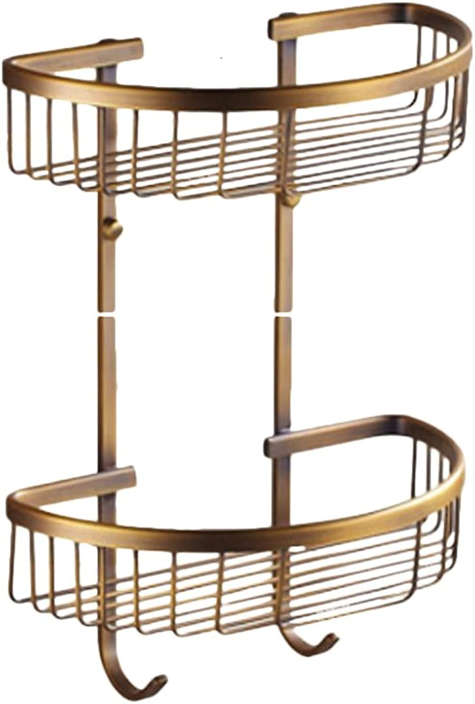 Bathroom Rack, Rear Foot Basket Bathroom Rack Basket Bathroom Corner Rack golden (Size   Double Layer)