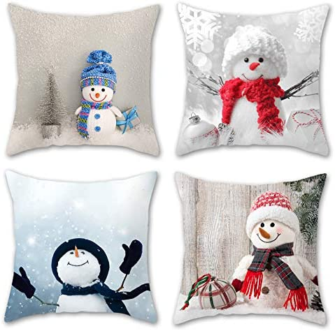 PHABULS 4 Pack Snowman Pillow Covers 18 18 Inch Cartoon Pillow Cushion Cover Snowman Decorations product image