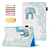 UUcovers Kindle Fire HD 10 Tablet 2019/2017 Case 9th and 7th Generation 10.1 Inch with Pencil Holder Card Slots [Auto Sleep/Wake] Folio Stand PU Leather Magnetic Smart Cover, White Elephant Flower