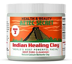 Aztec Secret Indian Healing Clay is a deep pore cleansing facial, hair and body mask 100% Natural Calcium Bentonite Clay that's great for facials, body wraps, clay baths, foot soaks, chilled clay knee packs, hair masks, insect bites & more Shrink-wra...