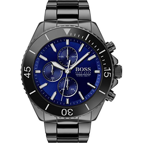 Hugo Boss Herren Chronograph Quartz Uhr mit Edelstahl Armband 1513743