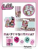 Partygram Set de Fiesta y Decoración Infantil Vajilla Desechable Feliz Cumpleaños LOL Sorpresa.