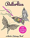 BUTTERFLIES Adult Coloring Book: Butterfly Coloring Books for Adults Stress Relieving Designs, 55 Amazing Butterflies Patterns: Butterfly Coloring Book Gift For Adults Relaxation Stress Relief