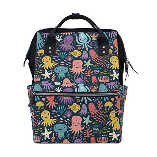 huatongxin Cute Octopus Starfishes School Backpack Large Capacity Mummy Bags Laptop Handbag Casual Travel Rucksack Satchel for Women Men Adult Teen Children