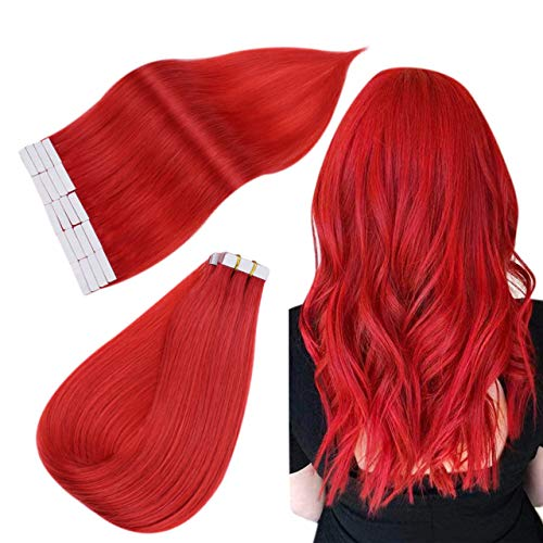 Esayouth Tape auf Remy EchthaarVerlängerung für Frauen 14 Zoll Rote Farbe 20g/PackungPackung Skin Weft Echthaar