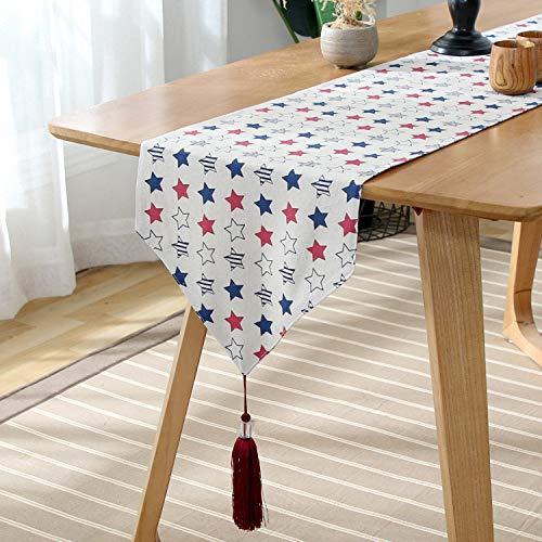 FeiFei156 Fünfzackige Stern Muster Einfache Rechteckige Tisch Flagge Home Tisch Tv Schrank Abdeckung Tuch Handtuch Pentagram 33 x 160cm