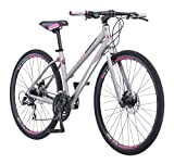 Schwinn Phocus 1500 Flat Bar Sport Fitness Hybrid Bicycle, Featuring 17-Inch/Small Aluminum Step-Through Frame and Mechanical Disc Brakes with Shimano 24-Speed Drivetrain and 700c Wheels, Matte Grey
