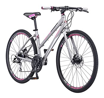 Schwinn Phocus 1500 Flat Bar Sport Fitness Hybrid Bicycle Featuring 17-Inch/Small Aluminum Step-Through Frame and Mechanical Disc Brakes with Shimano 24-Speed Drivetrain and 700c Wheels Matte Grey