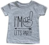 I'm One Let's Party Hipster Arrow First Birthday T-Shirt - 1st Birth Day Shirt (18 M, Heather Grey)