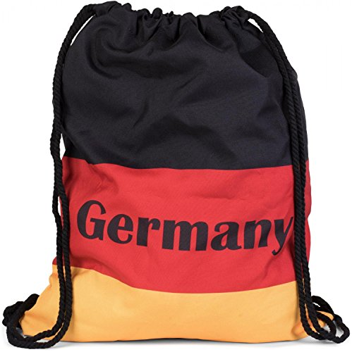 styleBREAKER Turnbeutel Rucksack im Deutschland Flaggen Design mit 'Germany' Print, Sportbeutel, Unisex 02012080, Farbe:Schwarz-Rot-Gold