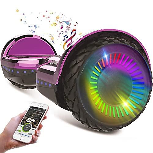 """HappyBoard Hoverboard - 6.5"""" - Bluetooth - Motor 700 W - Velocidad 15 km/h - LED - Patinete Eléctrico Auto-Equilibrio - para niños y Adultos - Rosa Cromado"""