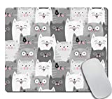 Amcove Office Mousepad Rectangle Mousepad Funny Grey Cats Mouse pad Cats Desk Rubber Gaming Mat 9.5 X 7.9 Inch (240mmX200mmX3mm)