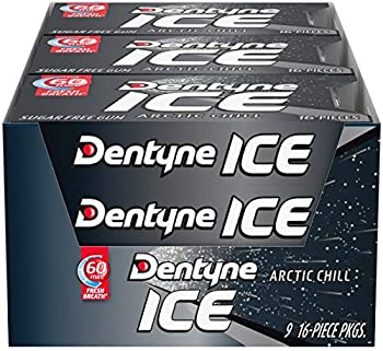 Dentyne Ice Arctic Chill Sugar Free Gum, 9 Packs of 16 Pieces