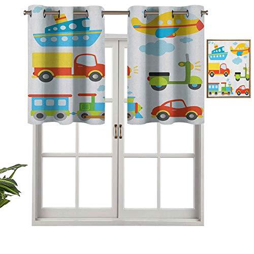 Hiiiman Panel de cortina de bloqueo UV, tipo abstracto, tipo de transporte para niños, coches, barcos, camiones, scooters, trenes, aviones, juego de 2, 137 x 91 cm para habitación de niños