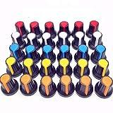 QIANSDZSW Potenciómetro 30 unids 5color WH148 Potenciómetro Tapa de la Perilla(núcleo de Cobre) 15x17mm 6 mm Agujero del Eje AG2 Amarillo Naranja Azul Blanco Rojo 5Color*6pcs=30pcs
