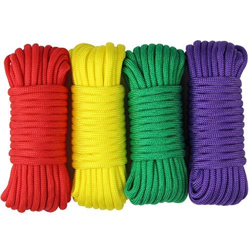 aufodara 4 Pieces 19ft / 6Meter Paracord Cords 550 Multifunction Paracord Rope Crafting Bracelet Braided Rope Lanyards Dog Collar DIY Crafting (D4-B)