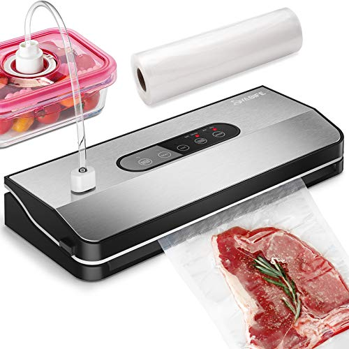 Vacuum Sealer Machine, Automatic Food Saver Machine, Vacuum Packer, Stainless Steel Panel, LED Indicator Lights, Dry & Moist Food Mode, Jar Sealer Machine, Easy to Clean, with a Vacuum Sealing Roll