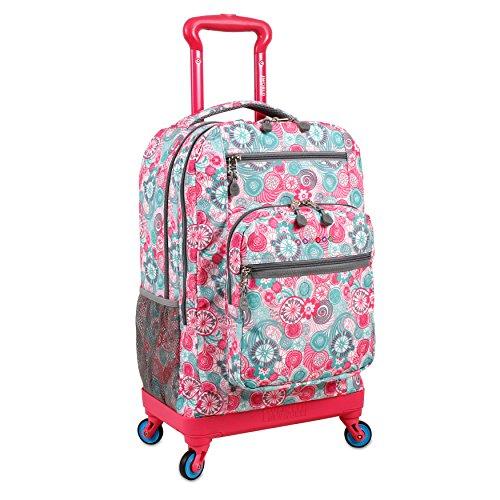 J World New York Moonslider 4-Wheel Rolling Backpack, Blue Raspberry, 19'