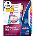 6-Sets Avery Ready Index 12-Tab Binder Dividers