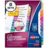 Avery Ready Index 12-Tab Binder Dividers, Customizable Table of Contents, Multicolor Tabs,...