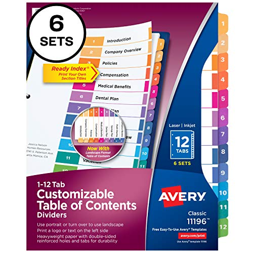 Avery Ready Index 12-Tab Binder Dividers, Customizable Table of Contents, Multicolor Tabs, 6 Sets (11196)