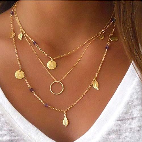 Sethain Boho En capas Cristal Collar Oro Hoja Colgante Cadena Moneda Corto Collares Joyería para mujeres y niñas