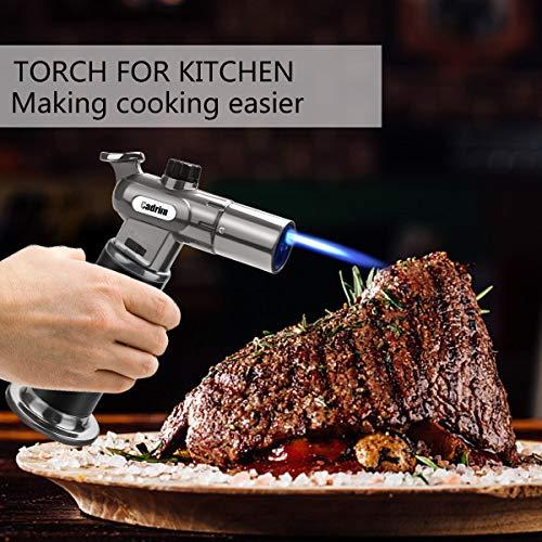 Cadrim Chalumeau de Cuisine, Bruleur Torche Culinaire Réglable Deux Flamme pour Barbecue DIY, Creme (Rechargeable Gaz Butane)