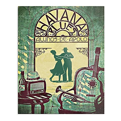 Havana Blues Vintage Music Posters 90S/80S   90S Room Decor Music Posters, Vintage Decor For Bedroom Classical Room Decor Retro Music Decor Posters