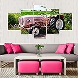 VKEXVDR Cuadro sobre Lienzo-5 Piezas- Paisaje Tractor -Cuadros Modernos Impresión de Imagen Artística Digitalizada Lienzo Decorativo para Tu Salón o Dormitorio