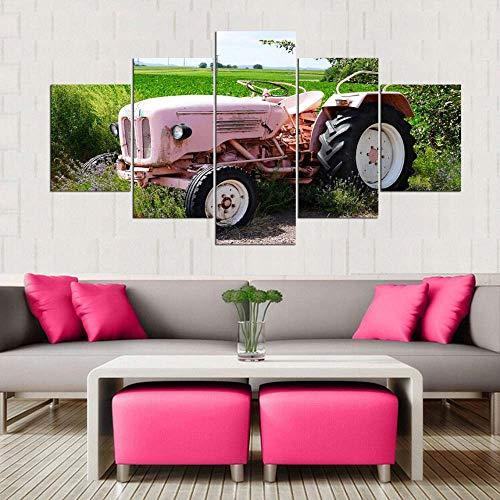 VKEXVDR Cuadro sobre Lienzo-5 Piezas- Paisaje Tractor -Cuadros Modernos Impresión de Imagen Artística Digitalizada|Lienzo Decorativo para Tu Salón o Dormitorio