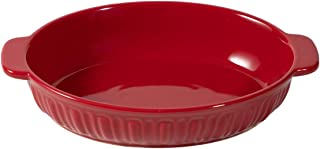 FE Baking Dish, Oval Ceramic Bakeware Oven to Table, Rome Pillar Casserole Dish 8 inch, Au Gratin Pan for 1 or 2 Person (Red)