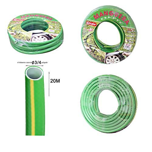 Manguera verde para jardin, 20 metros de largo, 20 mm de anchura,PVC reforzado, hilo de poliester verde. Anti UV.
