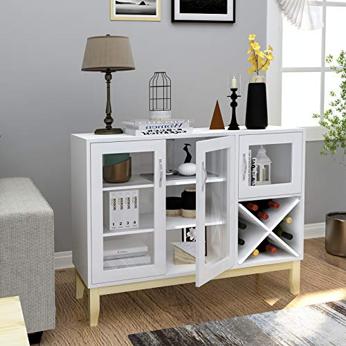 Tiptiper Modern Buffet Cabinet, Sideboard Buffet Storage Cabinet with Wine Racks and Storage Shelves, Accent Cabinet with Tempered Glass Doors for Kitchen Dining Room, Living Room, White
