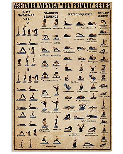 Ashtanga Vinyasa Yoga Primary Series Vertical Poster Art Print Home Wall Decor 24x36 Inch