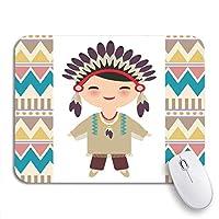 ROSECNY 可愛いマウスパッド アメリカインディアンカワイイ民族衣装の漫画の子供ノンスリップラバーバッキングコンピュータマウスパッド用ノートマウスマット