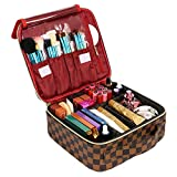 WODKEIS Makeup Case Cosmetic Bag Professional Train Case Large Makeup Box Make Up Storage Organizer with Removable Dividers & Brush Section for Women Girls Travel, PU Leather, Hard Shell,Brown