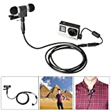 Windproof Stereo Mic Kit Microphone w/Stereo Microphone+ Extension Cable+ Noise Reduction Anti-Interference Ferrite Bead Filter Mic Converter Adapter Compatible with GoPro Hero 4/3+/3