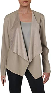 Womens Faux Leather Casual Open-Front Blazer