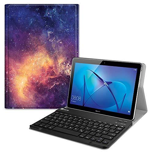 Fintie Tastatur Hülle für Huawei Mediapad T3 10 - Superdünn leicht Schutzhülle mit magnetisch Abnehmbarer Bluetooth Tastatur mit QWERTZ Layout für Huawei MediaPad T3 10 (9.6 Zoll), Die Galaxie