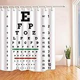 lovedomi Tabla Ocular Tablero Prueba visión Patrón temático Optometrista Impresión 3D Cortina Ducha Material poliéster Impermeable 72X72 Pulgadas 12 Ganchos Colgante baño Decoración del hogar