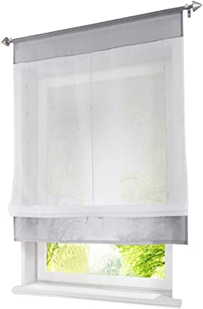 1Pc Store Romain Passe Tringle LxH/80x100cm Gris Rideau Voilage Transparent  Raffrollo Décoration De Fenêtre