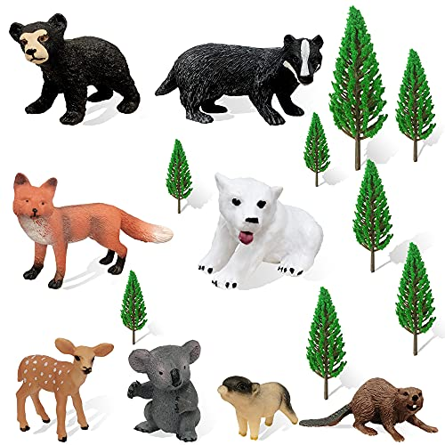 16 PCS Forest Animals Baby Toy Figures Model Trees Realistic Plastic Woodland Miniature Animals Playset Cake Toppers for Birthday Party Favor Table Decoration Kids Gifts