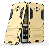 Funda para Huawei Mate 10 (5,9 Pulgadas) 2 en 1 Híbrida Rugged Armor Case Choque Absorción Protección Dual Layer Bumper Carcasa con Pata de Cabra (Dorado)