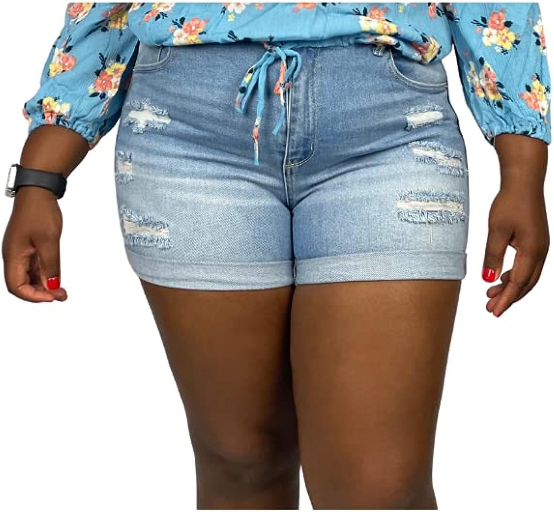 Plus Distressed Denim Shorts