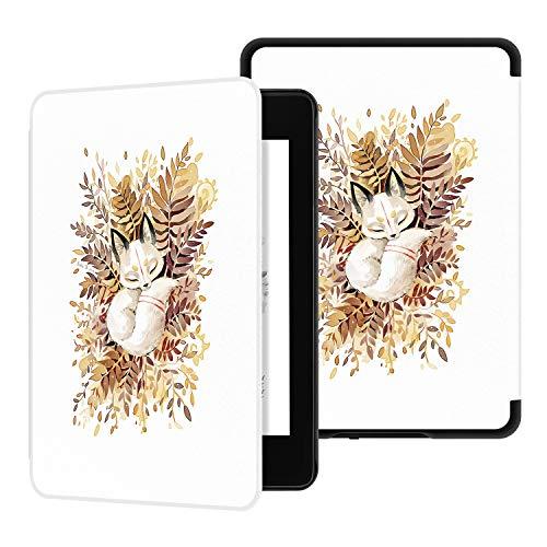 Ayotu Hülle für Kindle Paperwhite 2018 - Schutzhülle mit Auto Sleep/Wake Funktion PU-Leder-Schutzhülle für Amazonas New Kindle Paperwhite (10. Generation – 2018),Der schlafende Fuchs