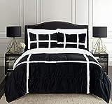 Elegant Comfort Micromink Stripe Lined Sherpa Comforter Set, Premium Down Alternative Micro-Suede 3-Piece Reversible Comforter Set, King/California King, Black