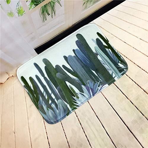 OPLJ Bienvenido Alfombrillas Felpudo Plantas Tropicales Impresas Cocina Alfombras de baño Casa Alfombra para Sala de Estar Alfombra Antideslizante A4 60x180cm